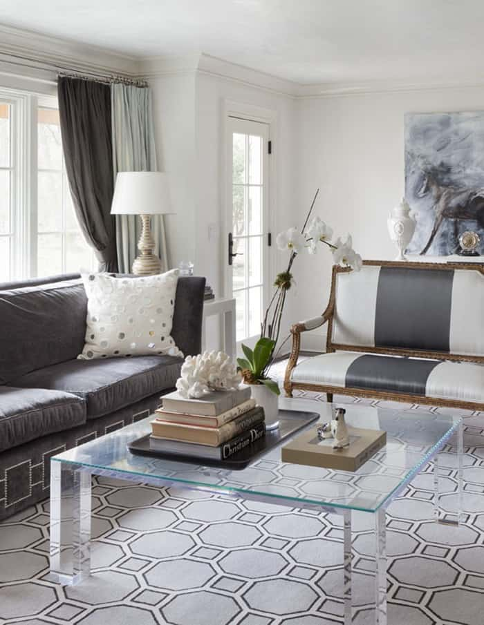wonderful design ideas for living room home interior with glass square table and carpet and curtains and sofa and cushions and books and lamp