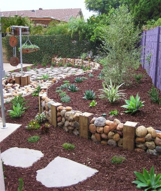 13. Use Gabions With Rock and Wood