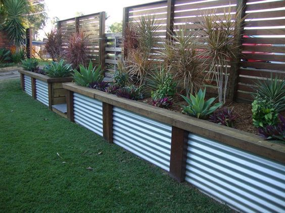 11. Use Steel Panels as a Garden Edge
