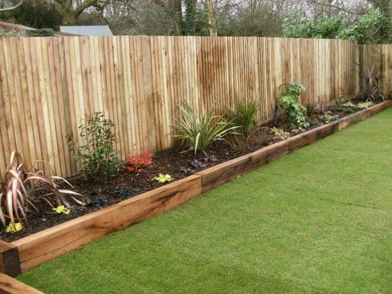 62. Simple Wooden Beam  Flower Garden Edges