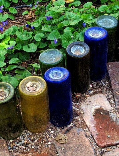 44. Use Colorful Glass Bottles as Garden Edge