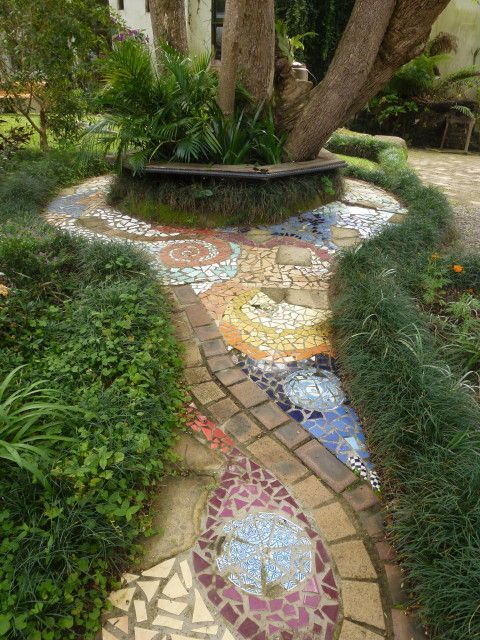60. Use Colored Tiles to Create Garden Borders