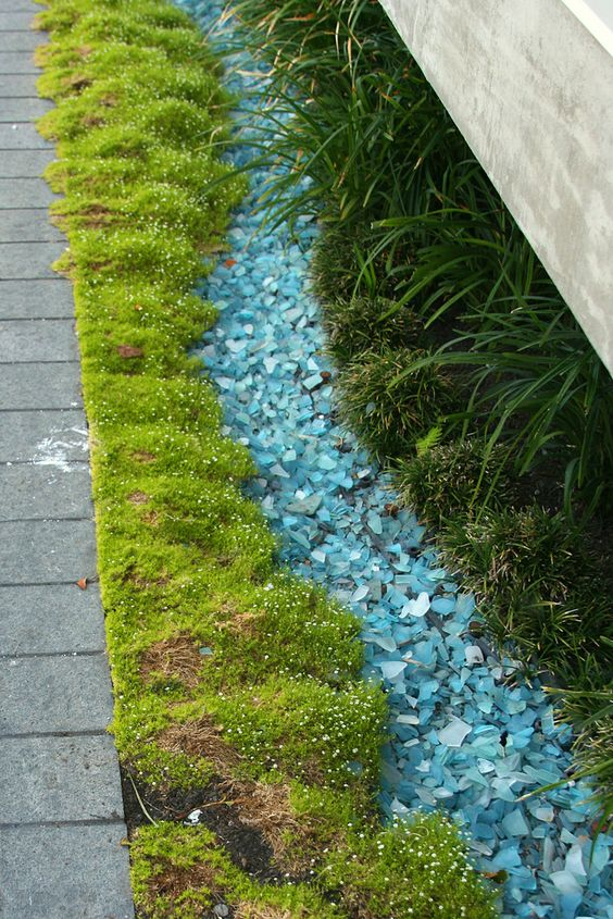 55. Create a Blue Colored Glass Garden Edge
