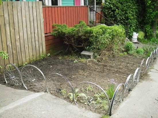 37. Use Recycled Bicycle Wheels as Garden Edges