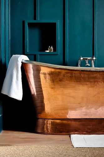 teal and copper bathroom