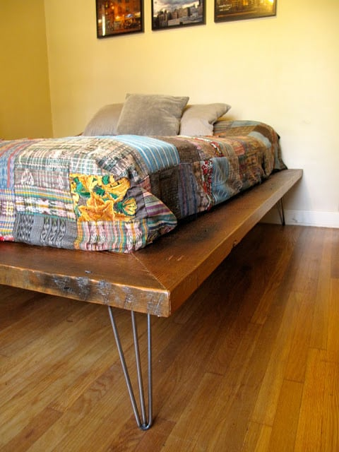 platform bed with diy hairpin legs and quilted cover