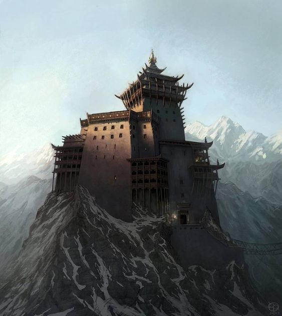 asian castle on top of a mountain
