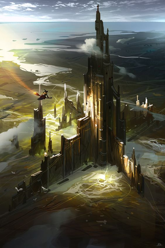 castle art in surreal realm