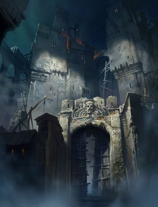concept art of a castle and fortress