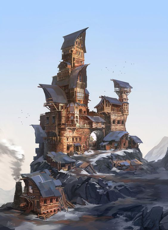 concept art stacked castle