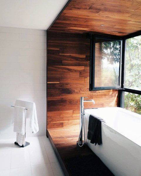 60. Frame Your Oasis Bathroom in Wood