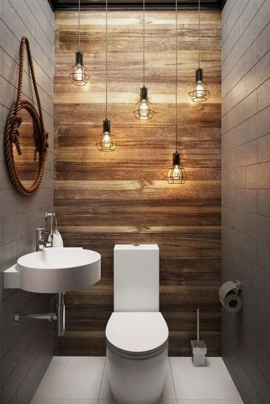 61. Gray Borders Wooden Wall Bathroom Accent