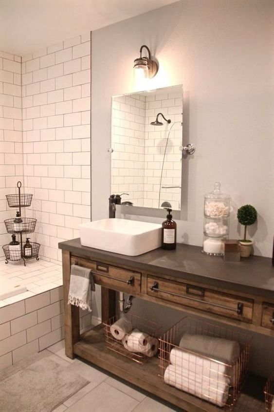 26. Bathroom Wooden Counter With Concrete Top
