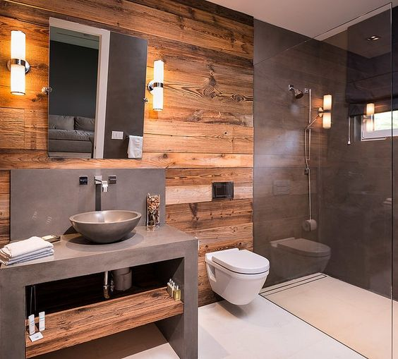 66. Wooden Wall and Concrete Gray Bathroom