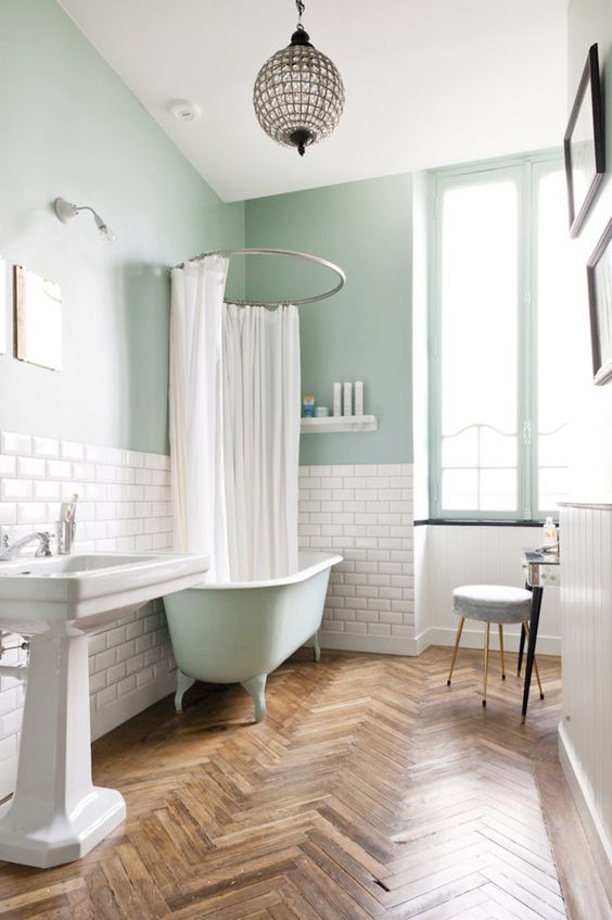 5. Green Mint, White and Wooden Floors