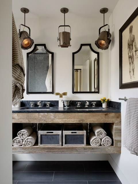 32. Copper, Wood and Black Marble Bathroom