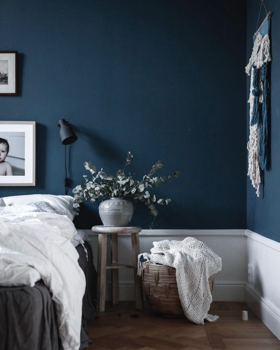 32. Navy Blue Bedroom With White Base
