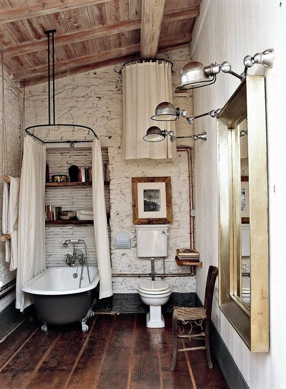 8. White Brick, Wooden Ceiling and Wooden Floored Bathroom