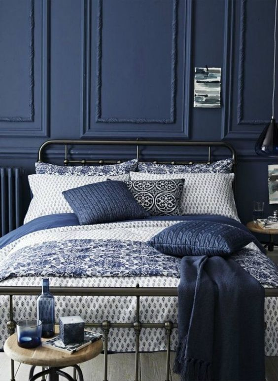 12. Navy Blue Interior With Intricate Patterns