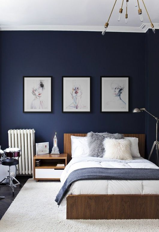 11. Modern Navy Blue Bedroom Design