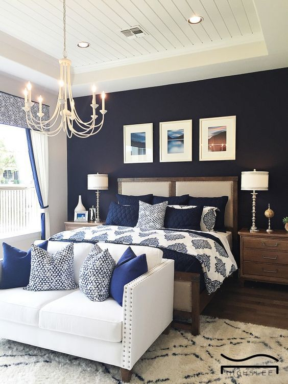 14. Navy Bedroom With White Wooden Ceilings