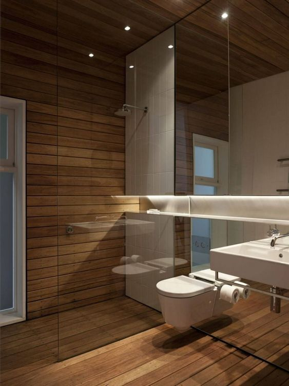 62. All Wooden Bathroom With White Wall