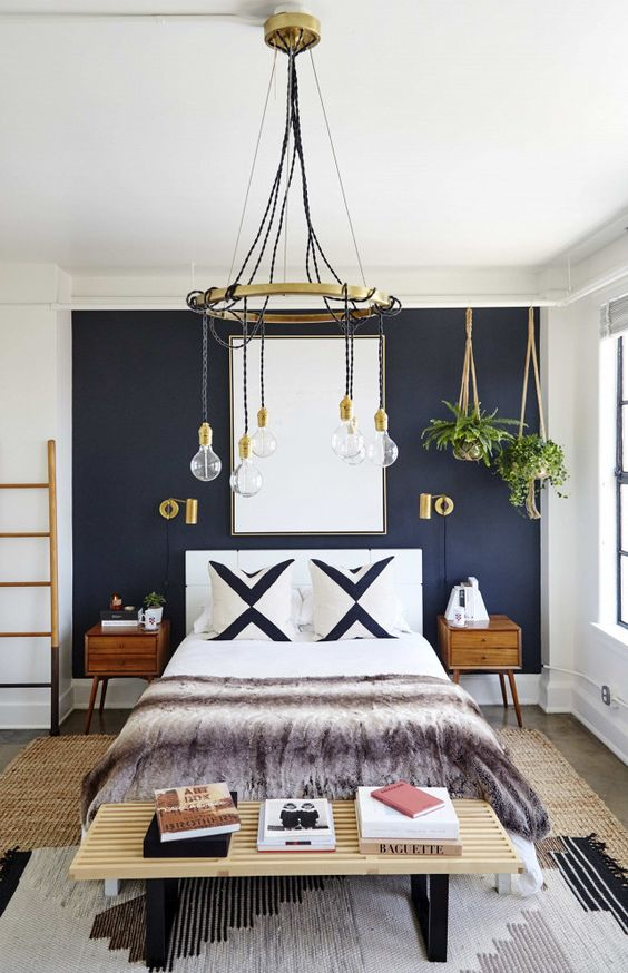15. Golden Retro Accents Defining a Bedroom