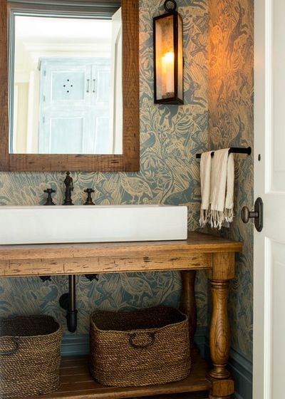 28. Intricate Wallpaper Textures Around A Wooden Vanity