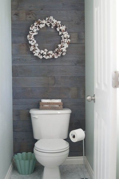 55. Washed Green Mind and Wooden Wall Bathroom