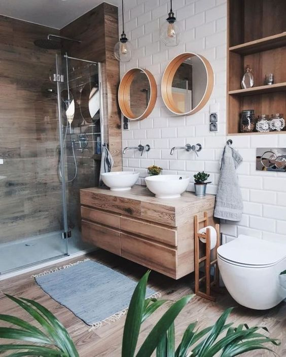 33. Modern Bathroom Invites Wooden Surfaces In