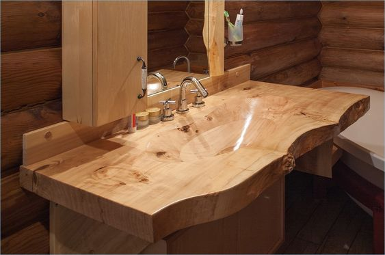 10. Warmth in a Wood Carved Sink