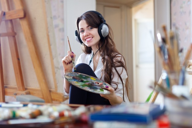 long haired woman headphones paints with oil colors 1398 360