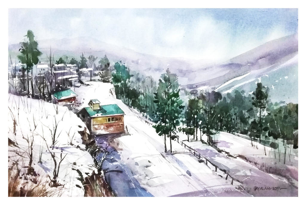 mountainside landscape watercolour by abstractmusiq dayp38b fullview