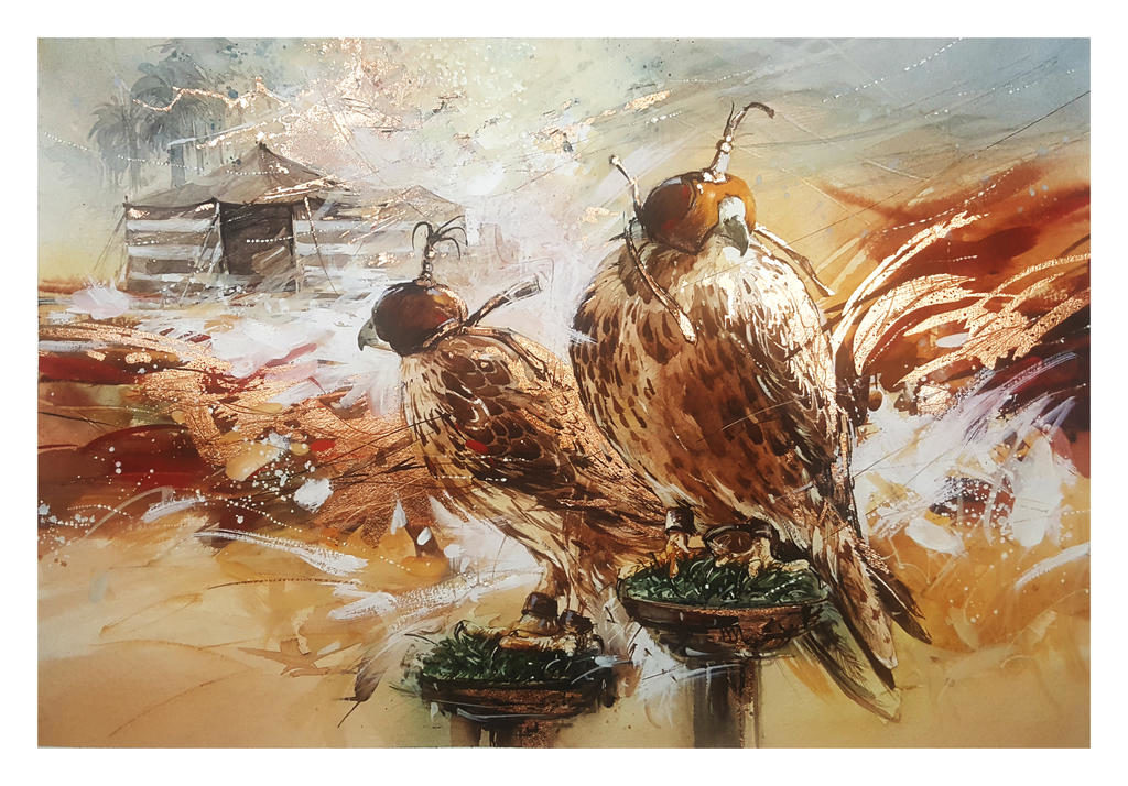 peregrine falcons watercolor painting by abstractmusiq dbq2bxr fullview