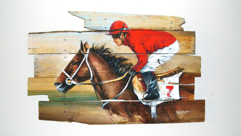 watercolor horse race on pallet wood by abstractmusiq dbkqnmy fullview