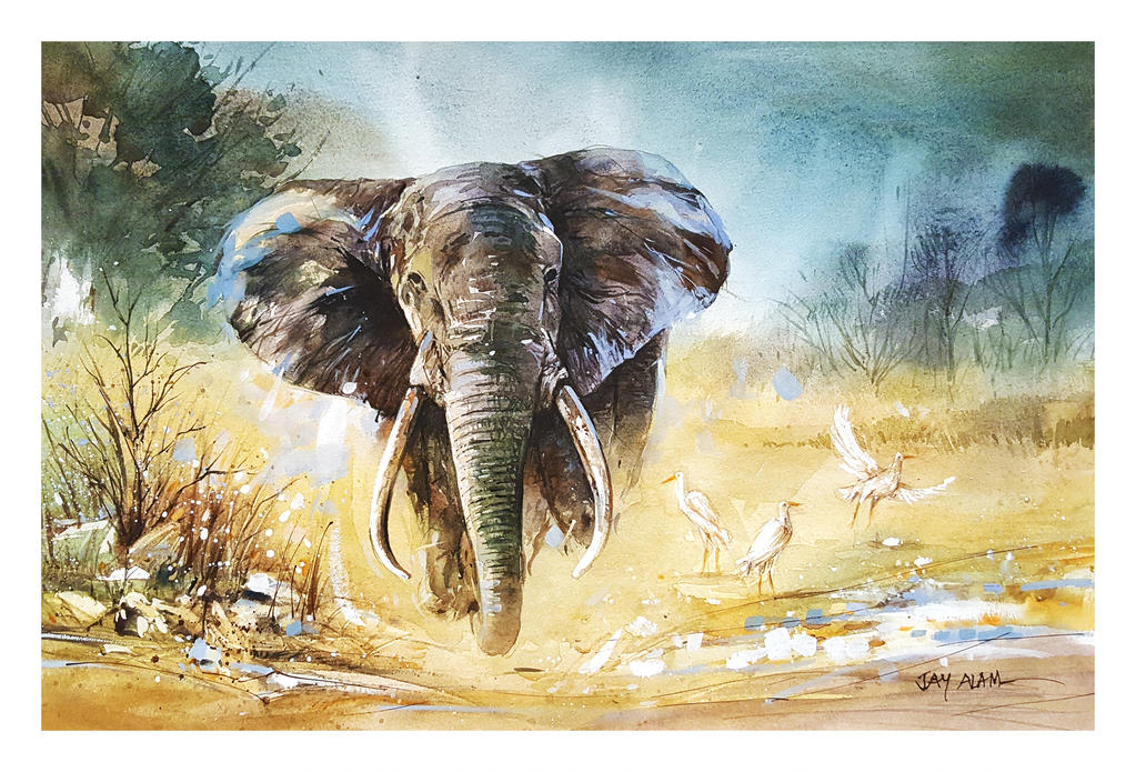 watercolor painting elephant by abstractmusiq dbnr6px fullview