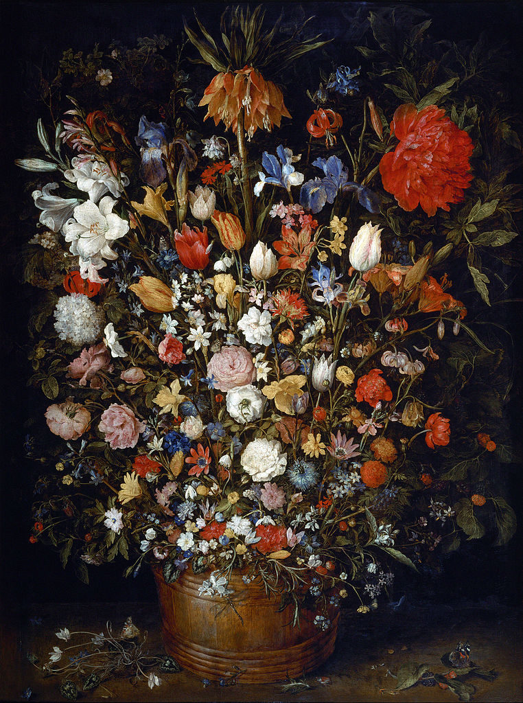 Jan Brueghel the Elder - Flowers in a Wooden Vessel