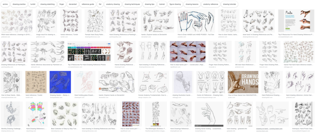 hand drawing reference website google