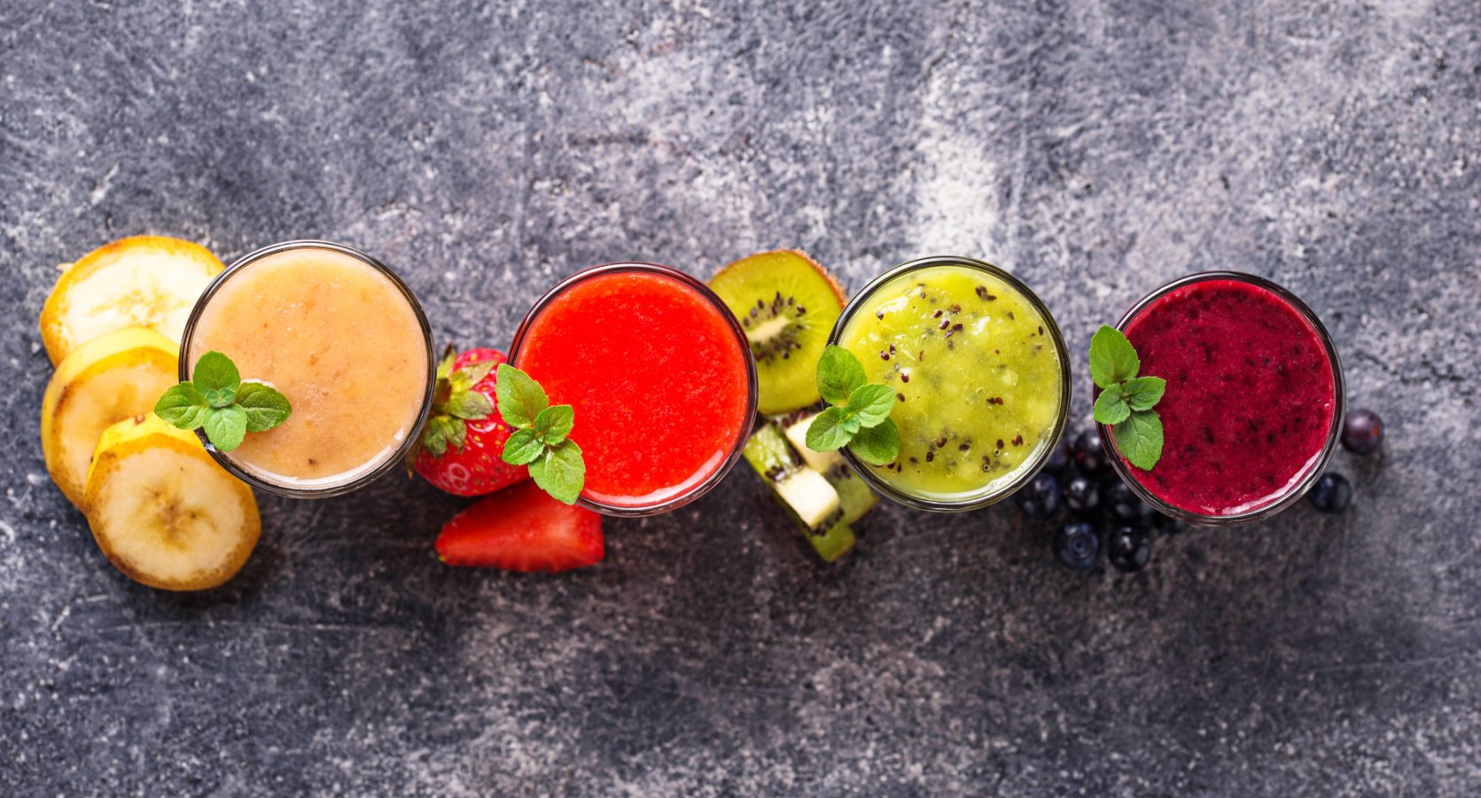 Assortment of various healthy smoothies. Top view