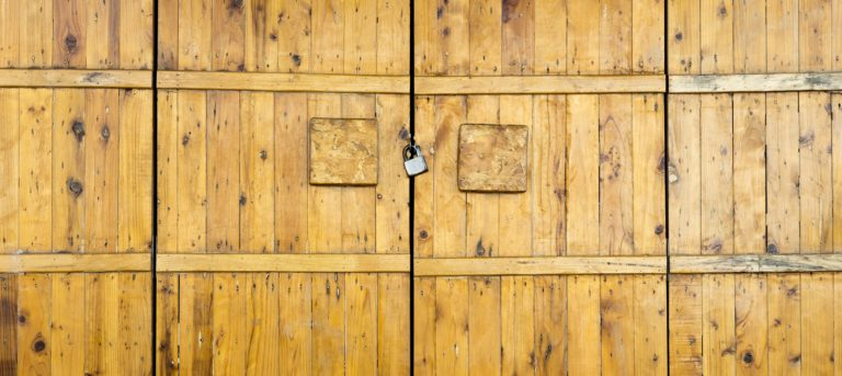 modern wood door lock exterior background