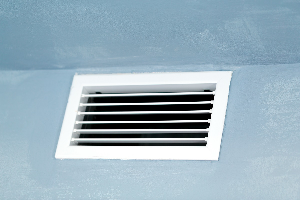 Close up of vent on the wall. Plastic ventilation grid, piece of home ventilation system.