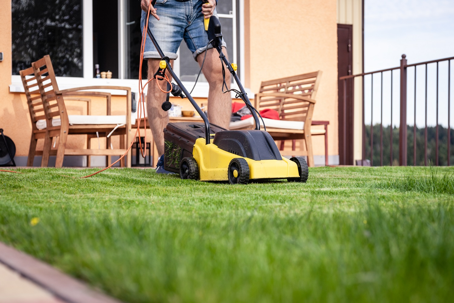 Lawn mower, green grass, equipment, mowing, gardener, care, work, tool, home, housekeeper on work