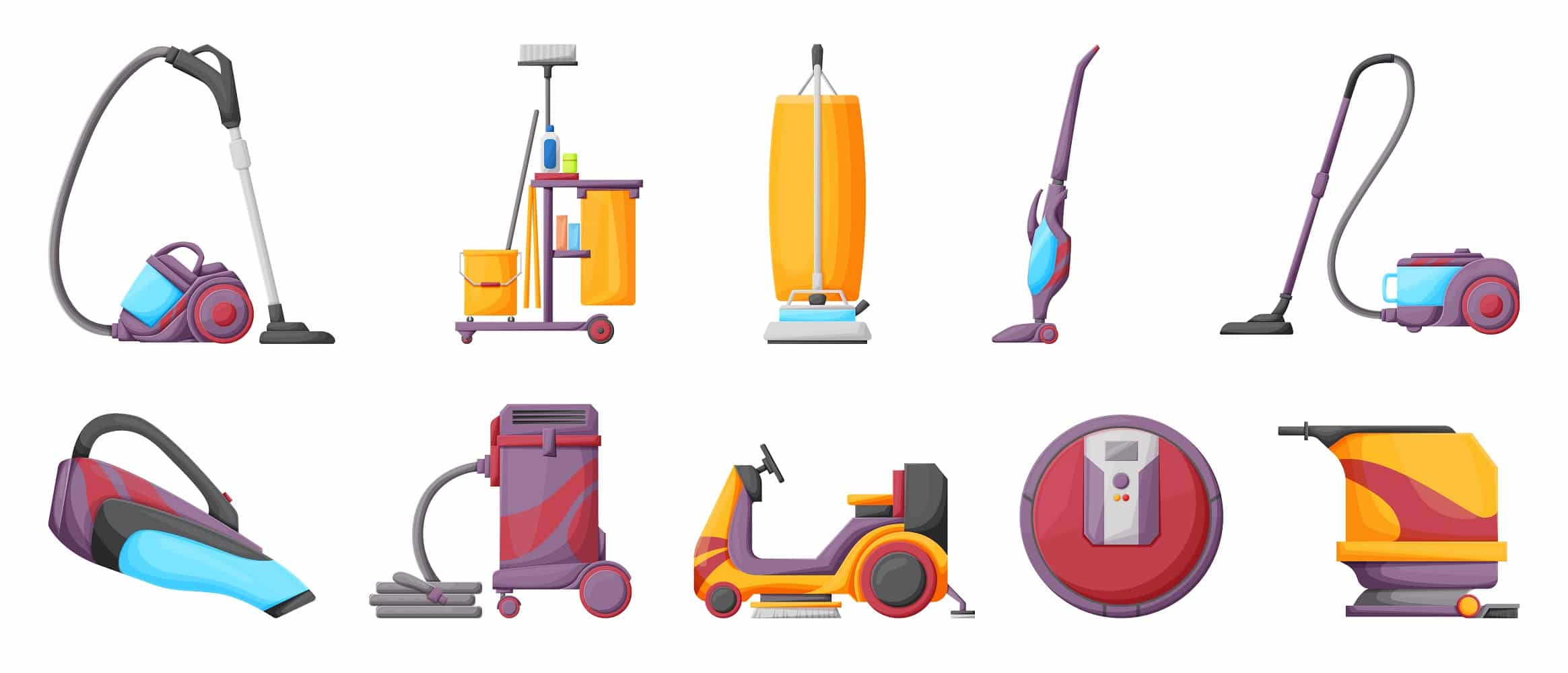 Vacuum cleaner cartoon vector illustration on white background . Set icon vacuum cleaner for cleaning .Cartoon vector icons hoover for cleaning carpet.