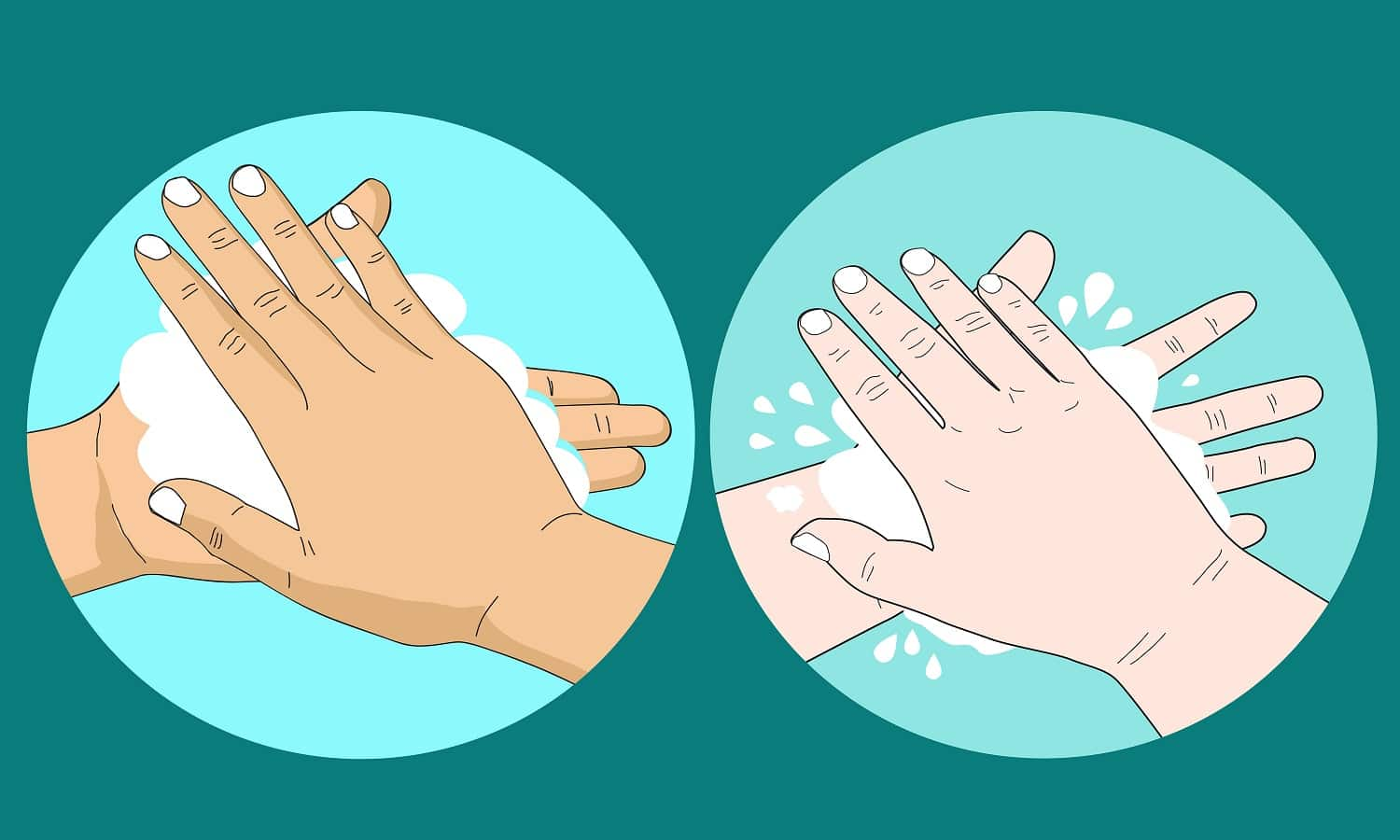 cartoon doodle drawing of people washing hand with soap and bubble, Body cleaning concept to prevent germs and illness.