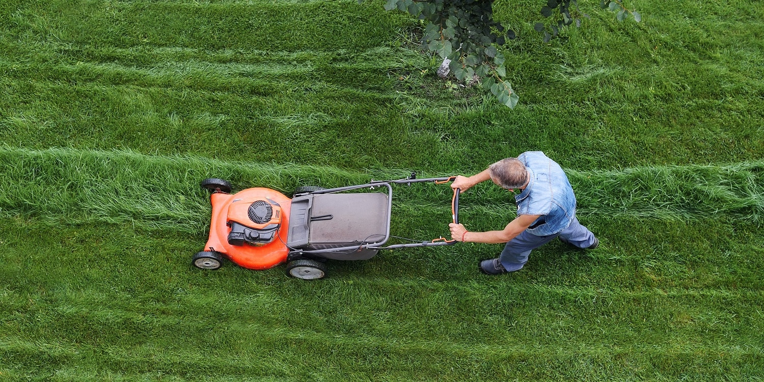 Man cuts the lawn. Lawn mowing. Aerial view lawn mower on green grass.