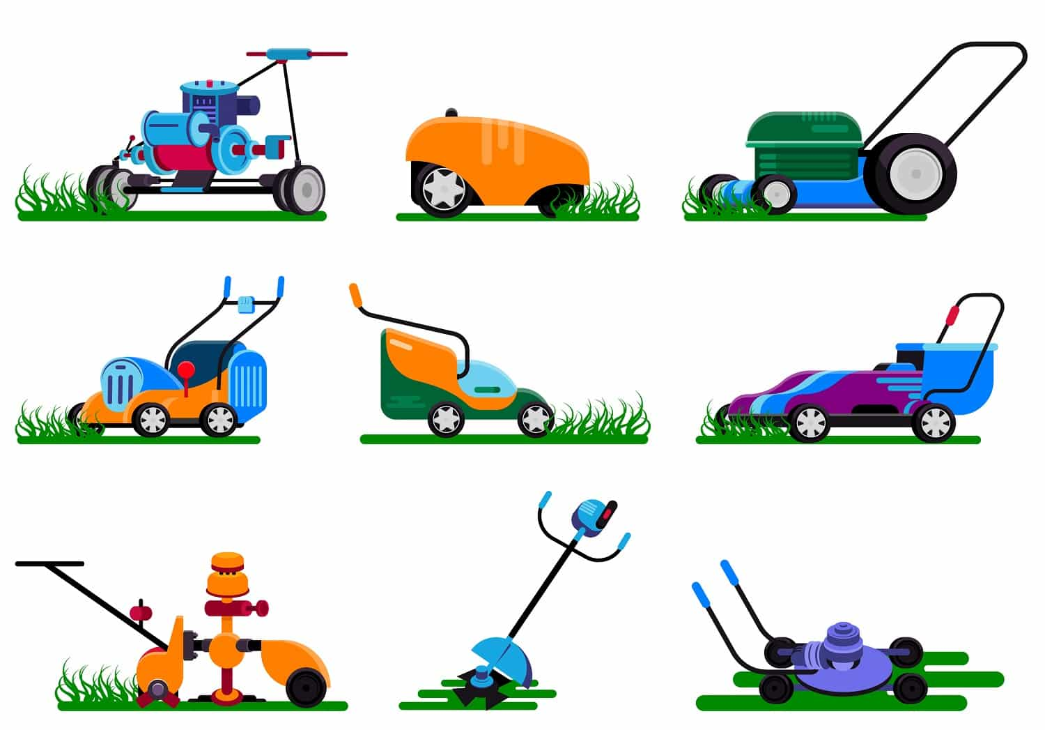 Lawn mower vector gardening lawnmower electric equipment machine and garden mowing trimmer illustration machinery set of power tools lawn-mower isolated on white background.