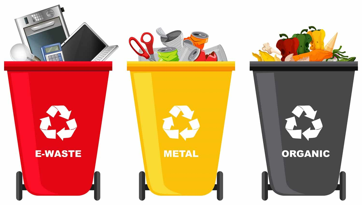 Set of different trash can illustration
