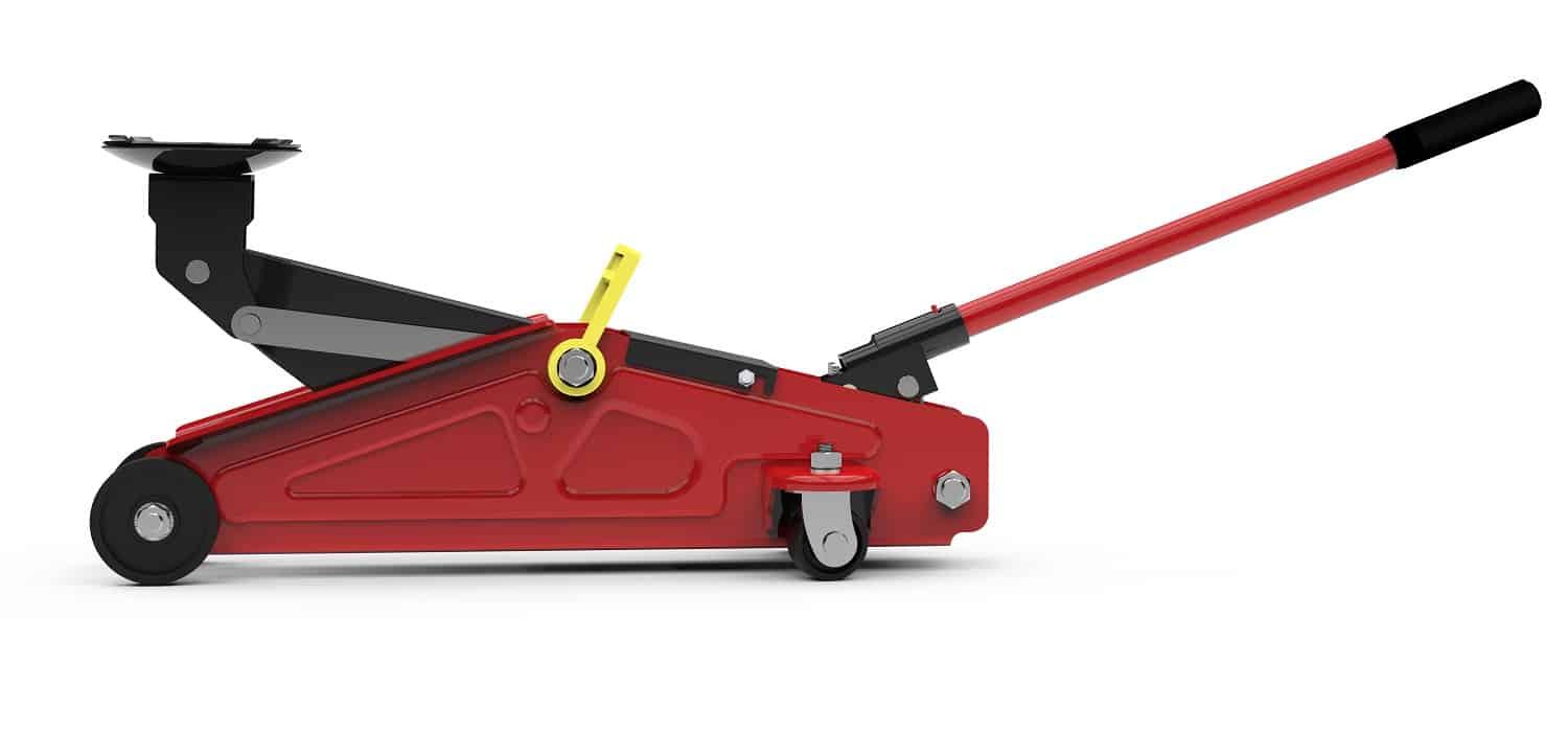 Red open hydraulic floor jack isolated, 3D illustration