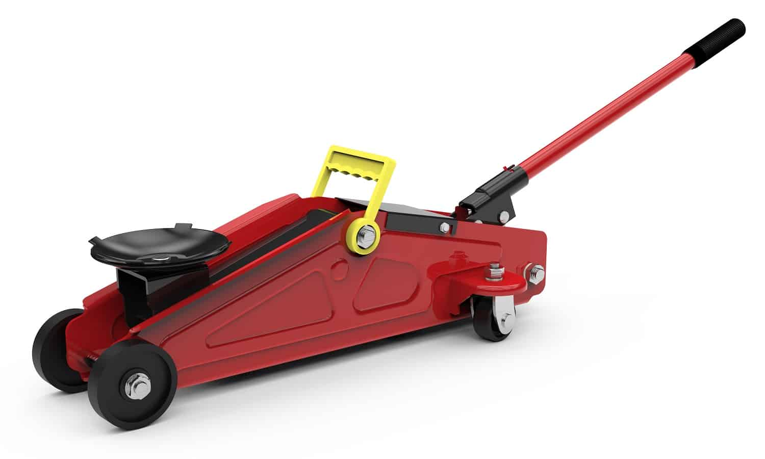 Red closed hydraulic floor jack isolated on white background, 3D illustration