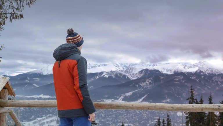 Back view of man wearing red jacket looking away against idyllic landscape of Tatra mountains.